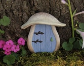 Fairy Door, Mushroom, Blue, fairy garden - FREE SHIPPING, mother