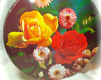 1960s Red and Yellow Roses Tin Box.
