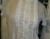 Beautiful Sheer White 1950's Blouse womens small