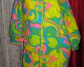 Neon Pattern Hippie 1960's Vintage Dress womens size small