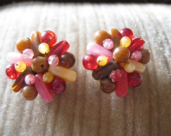 Vintage Honk Kong Beaded Clip on earrings free shipping