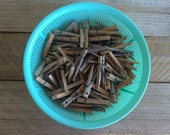 Vintage Wooden Clothespins Set of 24