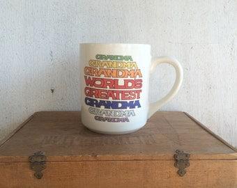 Vintage Coffee Mug // World's Greatest Grandma // Rainbow