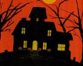 Haunted House Download Art - Original Art Work - You Print - JPeg File - Spooky Halloween House - Bats - Full Moon - Halloween Fun