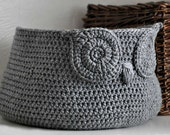 Grey Owl Basket Crocheted Bin Neutral Baby Room Decor Woodland Nursery Decor Home Organizer Custom Colors