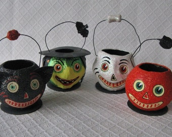 Four Dept. 56 Paper Mache Candy Containers, Retired