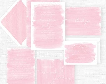 The Bella Collection | Sample Wedding Invitation | Hand-Painted Watercolor Wedding Invitations