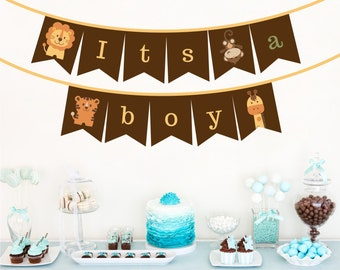 Baby Shower Bunting - 'It's a boy' - Jungle Safari style, Bunting/Banner