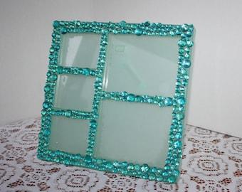 Sea Foam Green/Blue Embellished Picture Frame