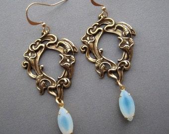 Calla Lily Earrings - Art Nouveau Earrings - Art Nouveau Jewelry - Calla Lily Jewelry - Rhinestone Earrings - Mint Earrings - Calla Lilies