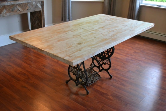 kitchen table with antique sewing machine base reclaimed wood table