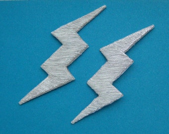 Sale~ 2 pcs Iron-on Embroidered Patch Lightning (Silver) 3 inch
