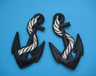 2 pcs Iron-on embroidered Patch ANCHOR 3.4 inch