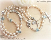Baptism Personalized Rosary Set with Pearls & Swarovski Birthstone Crystals - Heirloom - Guardian Angel