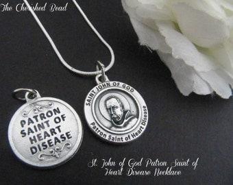 Women's Healing Heart Disease Necklace - Saint John of God - Patron Saint Heart Disease - Reversible Medal