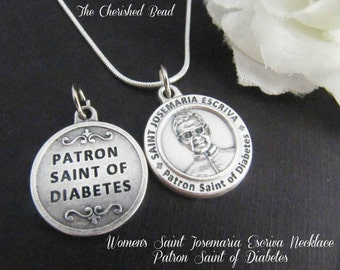 Women's Saint Josemaria Escriva Patron Saint of Diabetes Necklace - Catholic - Healing Necklace