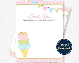 Ice Cream Thank You Cards, Ice Cream Party, Birthday Thank You Cards, Ice Cream Shoppe Printable INSTANT DOWNLOAD