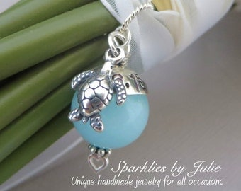 Something Blue Bouquet Charm - NAUTICAL EDITION, Aqua Chalcedony Gemstone, Personalized, Turtle or Sand Dollar Charm, Destination Wedding