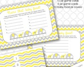 Elephant Guess the Baby Food Baby Shower game, neutral gender baby shower games, yellow gray chevron, instant download,