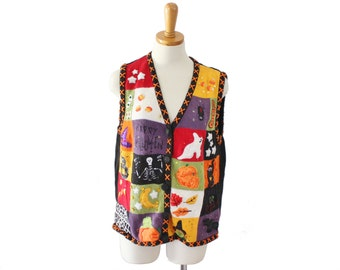 Vintage 90s Pumpkins Ghosts Cat Halloween Sweater Vest - Women XL - Busy, Scenes