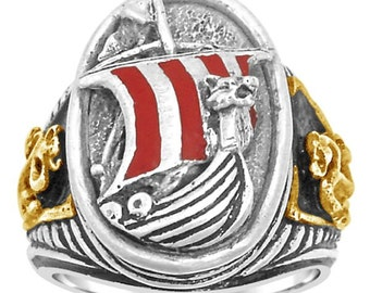 Viking Dragonship Mens silver ring.lge.