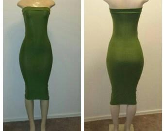 Olive green tube dress