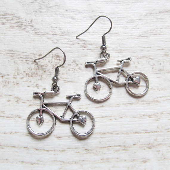 boucles d 39 oreilles v lo bicyclette avec crochet en acier. Black Bedroom Furniture Sets. Home Design Ideas