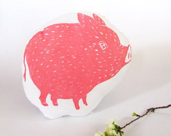 Plush Pig Pillow. Woodblock Printed. Choose ANY color. Made to Order.