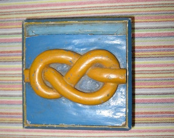 small vintage hand carved and painted wooden box with sailor's knot on lid