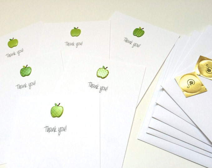 Set of 6 Flat Green Apple Teacher Thank You Cards, made on recycled paper, come with envelope and seal