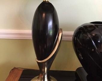 BLACK AND BRASS Sleek Lamp Table Lamp Modernist Black Lamp Brutalist Mid Century