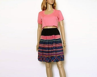 1970s Mini Skirt Vintage 70s Colorful Braid Trimmed High Waist Skirt / Small