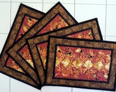 Handcrafted Quilted Placemats gold black orange red