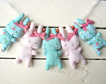 Bitsy Bunny Pink And Aqua Fabric Garland
