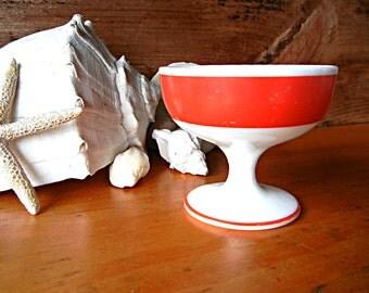 Milk Glass Footed Sherbet with red stripe dessert dinnerware
