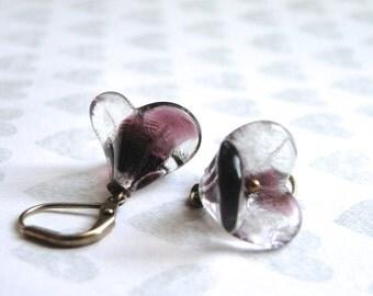 SALE Earrings / Jewelry / Autumn Accessories / Flower Earrings / Boho Chic Earrings / Glass Flower Earrings / Dangle Flower Earrings