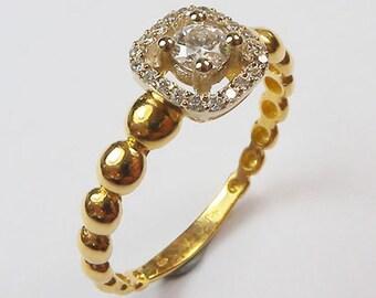 Diamond Engagement Ring, Halo Design, 18K Yellow