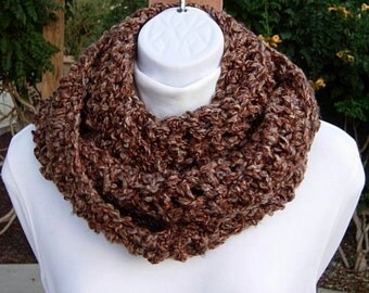 INFINITY SCARF Loop Cowl Dark Brown Tan Rust Tweed, Extra Soft Warm Thick Winter Crochet Knit Circle, Neck Warmer..Ready to Ship in 2 Days
