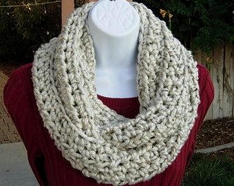COWL SCARF Infinity Loop Off White Ivory Tweed with Tan, Black, Soft Bulky Crochet Knit Winter Circle, Neck Warmer..Ready to Ship in 2 Days