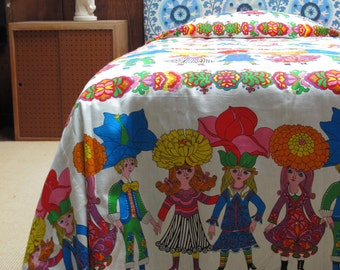 RARE 1960s Kirsch Twin Bedspread Vintage Made In Germany Max Rawicz Collection Screen Print Mod Pop Art Child's Bedding Peter Max Style 1970