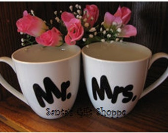 Mr. & Mrs - Kitchen Decor - Wedding Gift - Vinyl Decal Stickers - 1 Set of Decals - Mugs - Tumblers - Custom - personalized