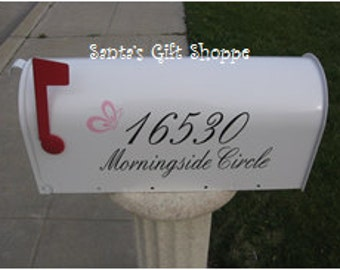 2 Mailbox Decalsl - House ADDRESS - Butterfly Vinyl Decal for your MAILBOX - Outside (2-one for each side of mailbox)