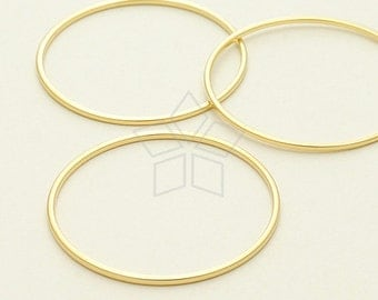 ME-207-MG / 4 Pcs - Circle Ring, Circle Connector, Circle Link, Matte Gold Plated over Brass / 30mm