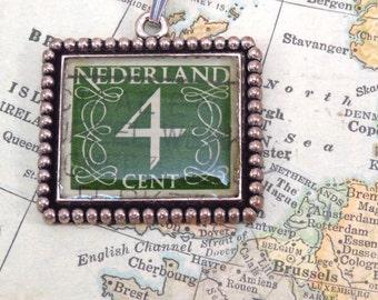 Vintage Netherlands Green 4 Cent Canceled Postage Stamp Pendant Necklace Key Ring