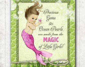 Mermaid Nursery Art - pink and lime mermaid decor