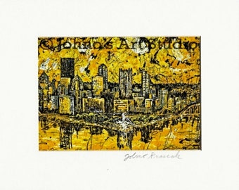 8x10 Pittsburgh Black n Gold with White mat, Pittsburgh Pride by Johno Prascak