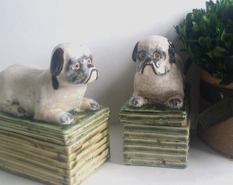 Vintage BullDog/ Pug Ceramic Box/ Chinoserie