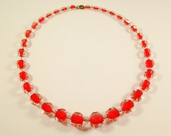 Red Necklace, Art Deco Jewelry Gift, Vintage Jewelry, Art Deco Necklace, Czech Crystal Choker, Czech Glass Beaded Necklace, Beaded Choker