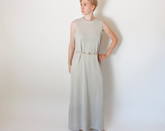 Vintage 60's glittery maxi dress, silver, Greek Goddess, rhinestone shoulder buttons, belted, sleeveless, from Alison Ayres - Large