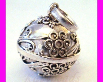 16mm Sterling Siver flower Bali Harmony Jingle Bell Ball Pendant Charm hm59